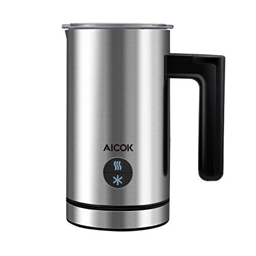 Aicok Milchaufschäumer Elektrisch, Automatischer Edelstahl Milchschäumer, 300ml Große Kapazität Milchschäumer, Schnell Heißen oder Kalten Schaum für Kaffee, Latte, Cappuccino