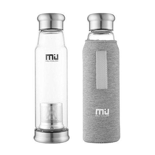 MIU COLOR® Stilvolle Tragbare 700ml Glasflasche Größere Kapazität Trinkflasche – Nylon Tasche für Auto mit Teesieb, grau