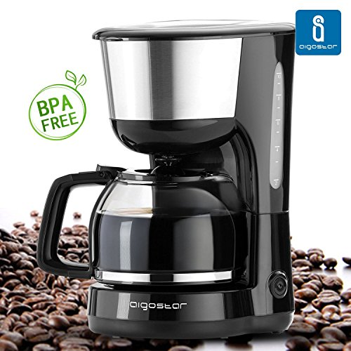 Aigostar Chocolate 30HIK – Kaffeemaschine, Kaffeemaschine, schwarz, Leistung: 1000 Watt, Kapazität: 1,25 Liter. BPA-frei.