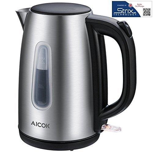 Aicok Edelstahl Wasserkocher Elektrischer Wasserkocher mit LED Licht, Schnellwasserkocher, Automatische Abschaltung und kochendem Trockenschutz, Polierte und Kabellose Teekanne, 2200 watt, 1.7L, Silber