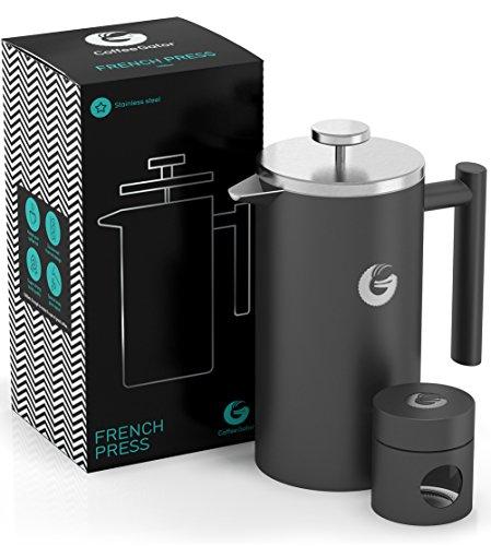 Mini Kaffeedose gratis dazu – Doppelwandige Französische Kaffeepresse um Kaffee länger warm zu behalten – Kaffeekanne in schwarz – FRENCH PRESS / KAFFEEBEREITER 1 Liter aus Edelstahl von Coffee Gator