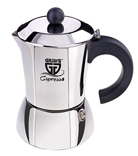 GRÄWE Espressokocher aus Edelstahl 0% Aluminium, Inhalt ca. 200 ml od. 4 kl. Tassen, auch für Induktion
