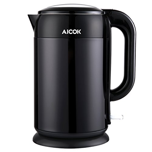Aicok Wasserkocher Edelstahl, 1,7 Liter, 2200W, Frühstückset, Doppelwandig Anti-Heiß, Kabellos, Automatische Abschaltung, BPA-frei, Schwarz