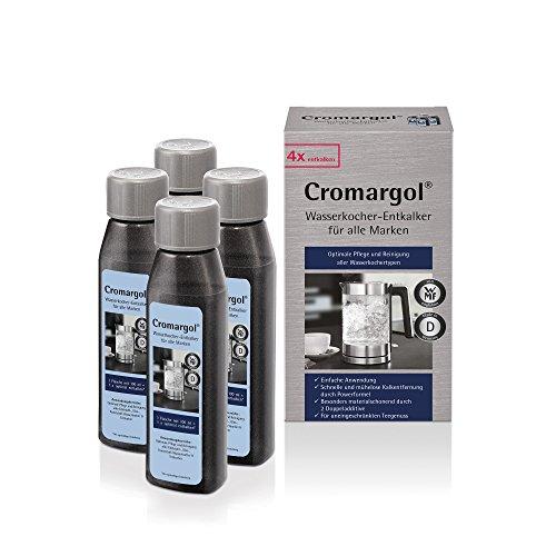 Cromargol Wasserkocher-Entkalker 4er Pack, für alle Wasserkochertypen Edelstahl, Glas, Kunststoff und Teekocher, 4 x 100 ml