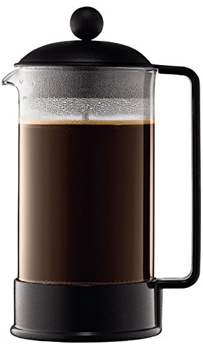 Bodum BRAZIL Kaffeebereiter French Press System, Permanent Edelstahl-Filter, 1,0 liters schwarz