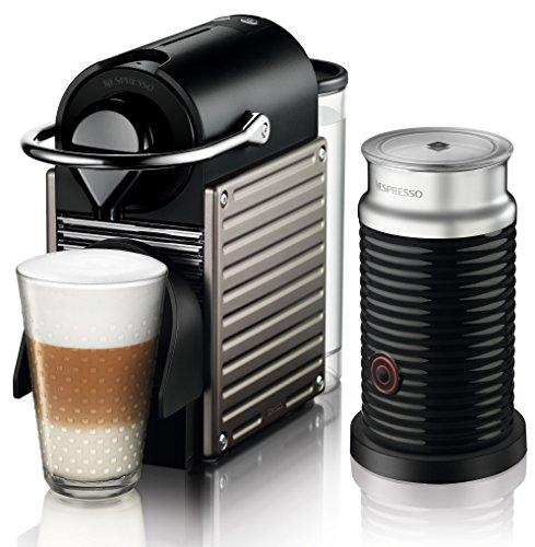 Krups XN 301T Nespresso Pixie Electric Titan mit Aeroccino 19 bar, Thermoblock-Heizsystem schwarz