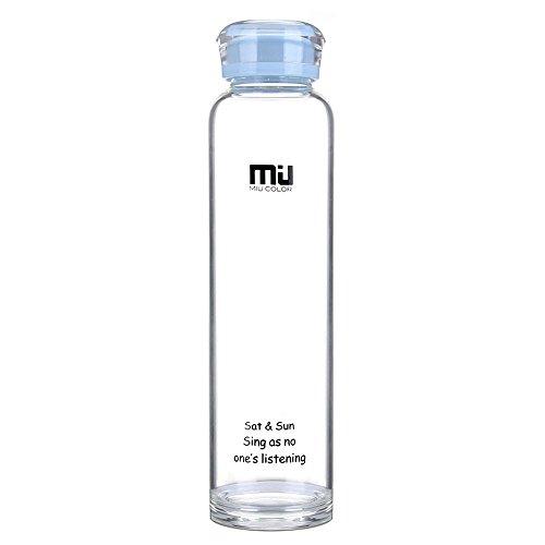 MIU COLOR® Trinkflasche BPA-Frei 460ml, Wasserflasche Glas, Glasflasche für Smoothie und Obstsaft oder zu Hause geeignet. Hellblau