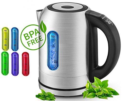 1,7 Liter Wasserkocher mit Temperatur Wahl Edelstahl und LED Innebeleuchtung Farbwechsel je nach Temperatur 2.200 Watt Edelstahl mit Temperatur Wahl