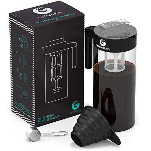 Kaffeebereiter für Cold Brew von Coffee Gator | Mit diesem Kaltwasser-Kaffeezubereiter bekömmlichen Kaffee-Kaltauszug herstellen | Ideal für Eiskaffee | Im Set mit Messlöffel und Klapptrichter