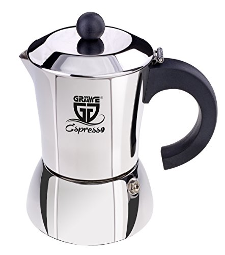 GRÄWE Espressokocher aus Edelstahl 0% Aluminium, Inhalt ca. 300 ml od. 6 kl. Tassen, auch für Induktion geeignet