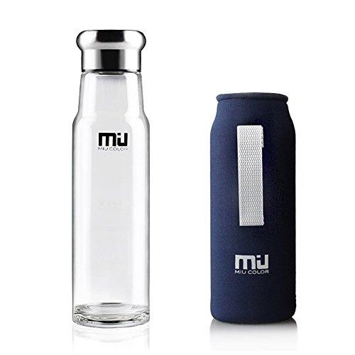 MIU COLOR Trinkflasche 550ml Glasflasche Wasserflasche mit Nylon Tasche Trinkflasche für Auto Blau