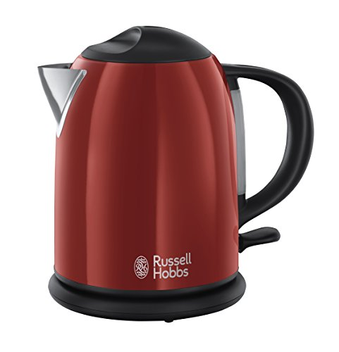 Russell Hobbs 20191-70 Colours Plus+ Flame Red Kompakt-Wasserkocher, Sicherheitsdeckel, kabellos, 1 L, 2200 Watt, rot