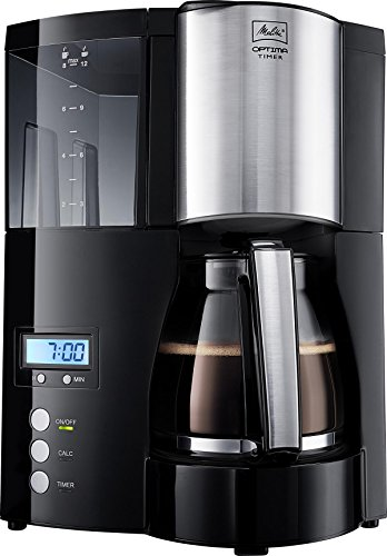 Melitta 100801 Optima Timer Kaffeefiltermaschine – schwarz/Edelstahl