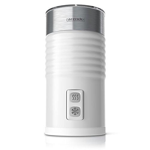 Arendo milkloud automatischer Aufschäumer | rostfreies Design | 2-Tasten für Warm- und Kaltaufschäumen | Soft-Touch-Oberfläche | Überhitzungsschutz durch automatische Abschaltfunktion | antihaftbeschichtet | 360° Basisstation | weiß / silber gebürsteter Edelstahl
