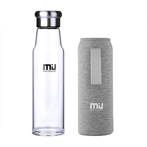 MIU COLOR® Stilvolle Tragbare 700ml Glasflasche Größere Kapazität Trinkflasche – Nylon Tasche für Autoonhe Teesieb, grau