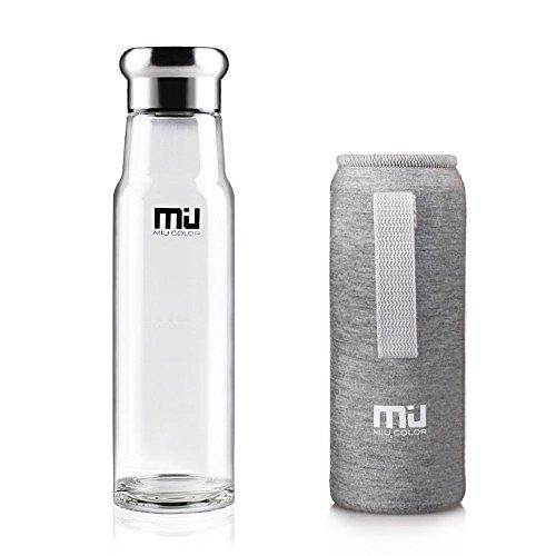 MIU COLOR Trinkflasche 550ml Glasflasche Wasserflasche mit Nylon Tasche Trinkflasche für Auto Grau