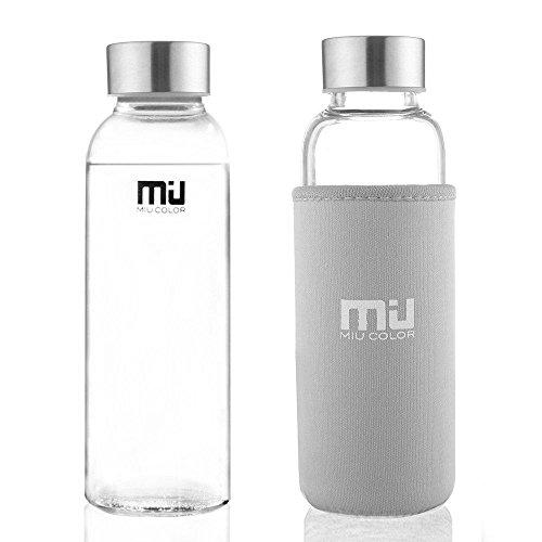 MIU COLOR® Stilvolle Tragbare 360ml Glasflasche Trinkflasche mit Nylon Tasche grau