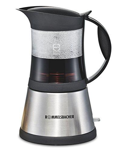 ROMMELSBACHER EKO 376/G ElPresso cristallo – elektrischer Espressokocher / Schott DURAN Glas / Mokkakocher mit Edelstahl-Filtereinsatz für 3 oder 6 Tassen / 365 W / Edelstahl, Glas
