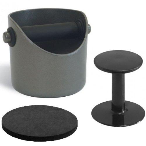 Business Coffee 4442 Barista-Set Basic, Grindenstein Abklopfbehälter mit Tamper und Andrückmatte, grau