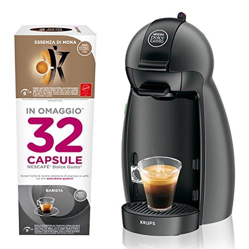 Nescafe ́ Dolce Gusto Piccolo mit 32Kapseln gratis, Kaffeemaschine für Espresso und andere Getränke manuell anthrazit