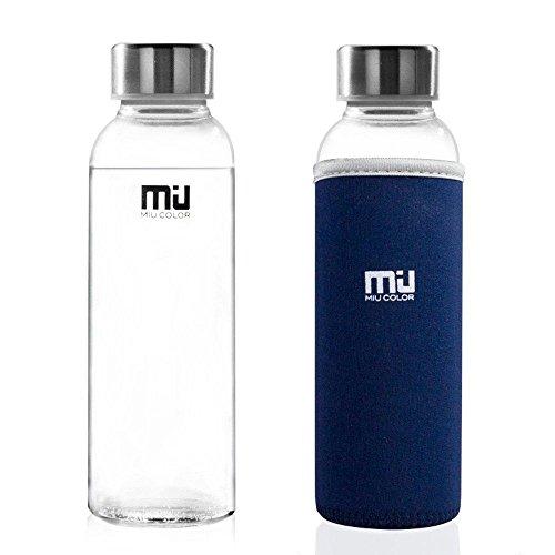 MIU COLOR® Stilvolle Tragbare 360ml Glasflasche Trinkflasche mit Nylon Tasche Blau