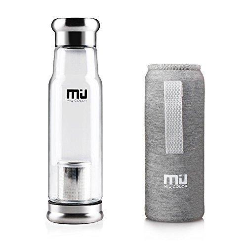 MIU COLOR® Stilvolle Tragbare 550ml Glasflasche Trinkflasche Nylon Tasche für Auto mit Teesieb, grau