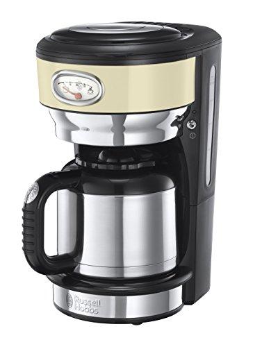 Russell Hobbs 21712-56 Retro Vintage Cream Thermo-Kaffeemaschine mit stylischer Brüh- und Warmhalteanzeige, Brausekopftechnologie, 1 L, 1000 W, creme