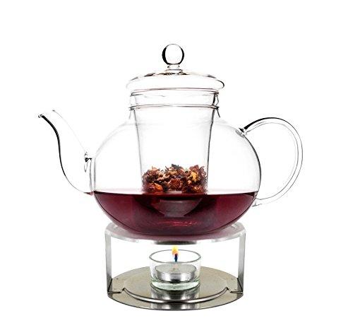 "Teekanne mit Stövchen Set ""Lotus"" aus Borosilikatglas und Edelstahl, 1 L"