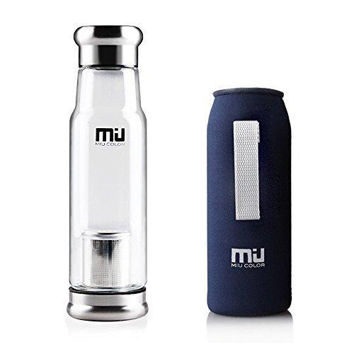 MIU COLOR® Stilvolle Tragbare 550ml Glasflasche Trinkflasche Nylon Tasche für Auto mit Teesieb, dunkelblau