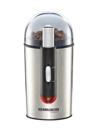 ROMMELSBACHER EKM 150 elektrische Kaffeemühle mit Schlagmesser / Kaffeepulver täglich frisch / 7 Stufen-Mahlgrad – elektronisch gesteuert / auch für Gewürze, Nüsse & Zucker / 150 W / Edelstahl