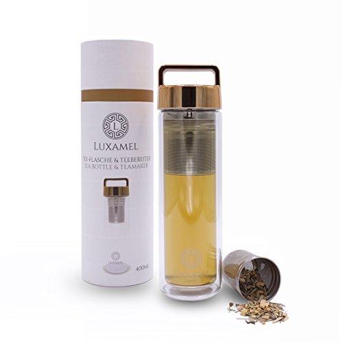 Teeflasche Glas Teekanne Teebereiter Trinkflasche mit Teesieb Teezubereiter Tea Maker to go Tee-Glas doppelwandig mit Sieb Teeflasche 2 Go Design Detox BPA-frei von LUXAMEL Gold