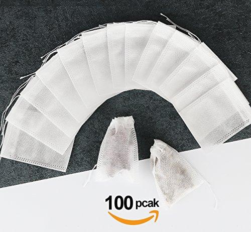 100 Teebeutel feine Teefilter Selbstbefüllbar ilauke Einweg Teabag 55mm X 70mm für Tee Obsttee Teeblumen Gewürz Kräuterpulver in Teekanne Tasse und viele weitere Möglichkeiten 100x