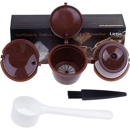 Lictin 3 Pack Dolce Gusto Kaffeekapsel Wiederverwendbare Kaffeekapselfüllung Mehr als 100 Verwendet Ersatz Kapsel Kaffeeduck