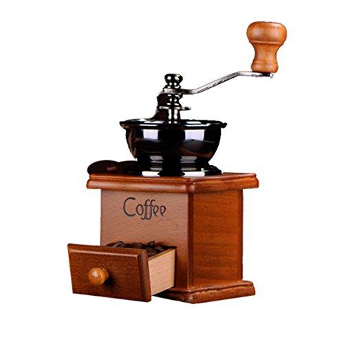 Hoomall Kaffeemühle manuelle Handkaffeemühle aus Holz und Metall super Küchenzubehör Tragbare Handkurbel Kaffee