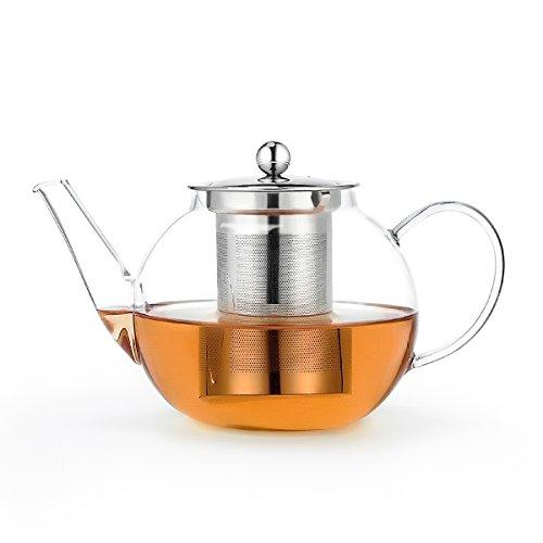 Sweese 2306 Glas Teekanne 1,0 L mit Teesieb, aus hochwertigem Borsilikatglas, hitzebeständig und spülmaschinengeeignet, ideal auch für Teeblumen, Teerosen