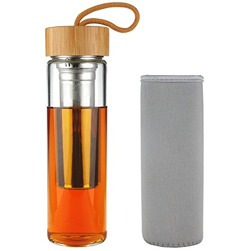 shbrifa teebereiter borosilikat tee trinkflasche glas mit bambusdeckel 500 ml trapnacs. Black Bedroom Furniture Sets. Home Design Ideas