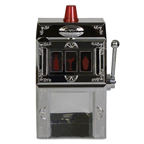 """Spielautomat Zapfanlage mit Zapfhebel – Getränkespender im """"One-Armed Bandit"""" Design – Silbern ca. 1300 ml – Grinscard"""