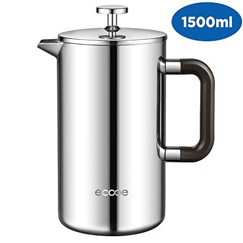 Ecooe 1.5L French Press Kaffee Doppelwandiger