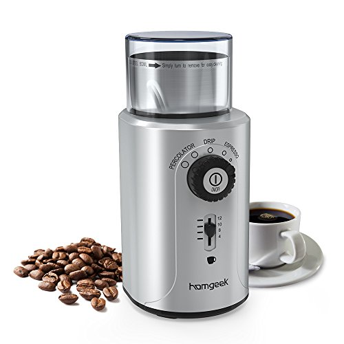 homgeek kaffeem hle edelstahl elektrische kaffeem hle f r. Black Bedroom Furniture Sets. Home Design Ideas