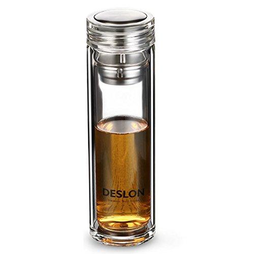 DESLON  Doppelglas Aufatz für die Teeflasche auslaufsicher Reisetasse für den Mann, Kaffee, Milch, Bürotassen, 12oz, 430 g