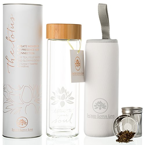 amapodo Teekanne Teeflasche doppelwandig Teesieb /& Deckel Sieb für losen Tee