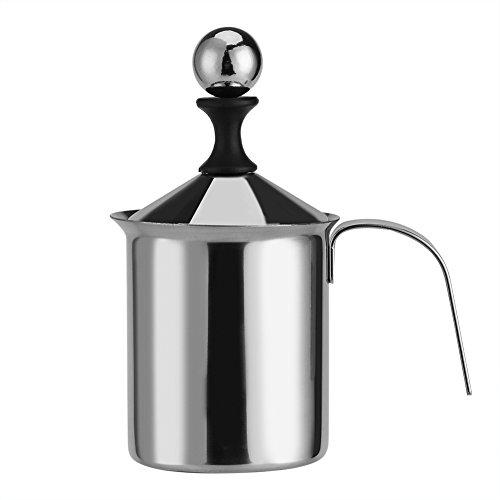 Milchaufschäumer, 400ML / 800ML Edelstahl Hand Manuelle Milchaufschäumer Doppel-Mesh-Schaum-Mixer für Kaffee, Latte, heiße Schokolade Kaffee Cappuccino Foamer Creamer800ML