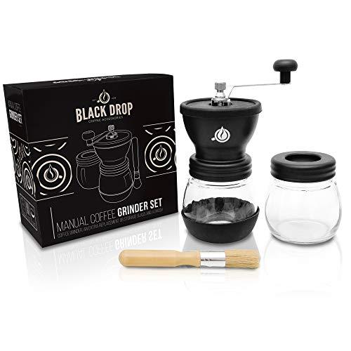 Black Drop Manuelle Kaffeemühle – Keramikmahlwerk und Extra-Behälter mit Pinsel – Einstellbare Premium Espresso Handmühle