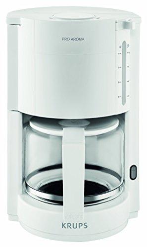 Krups F30901 ProAroma Glas-Kaffeemaschine, 10 Tassen, 1.050 W im modernen Design, weiß