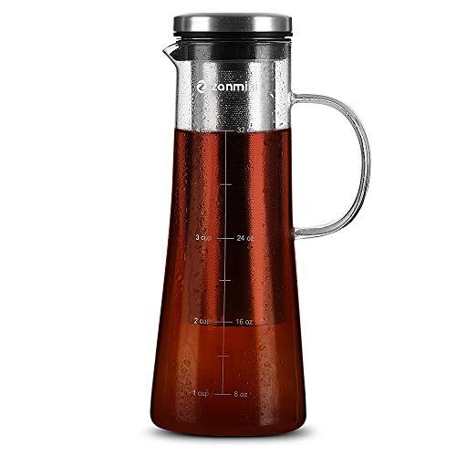 zanmini Cold Brew Coffee Maker, Kaffeezubereiter für kaltes Kaffee & Tee, 946 ml Füllmenge, Glas-Kanne und Edelstahl-Filter, Kaffekanne