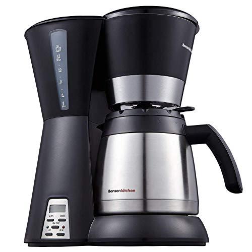 Bonsenkitchen Thermische programmierbare Kaffeemaschine mit 10 Tassen, Dauerfilter, Edelstahl-Vakuumkanne, Wasserstandsanzeige und Tropfschutzsystem CM8761