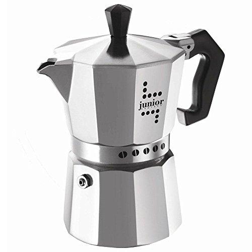 Bialetti Junior Kaffeemaschine, Aluminium, Silber, 3 Tassen
