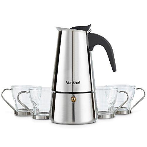 VonShef 6 Becher Herdplatte Espresso Kaffeemaschine mit 4 Mokkatassen aus Glas – Edelstahl