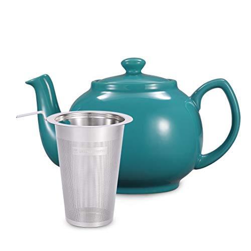 Urban Lifestyle Teekanne/Teapot Klassisch Englische Form aus Keramik mit Nicht-tropfendem Ausguss Cambridge 1,6L mit Teefilter aus Edelstahl Türkis