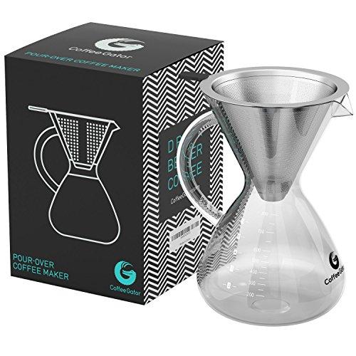 """Kaffeebereiter """"Pour Over"""" mit Dauerfilter aus Edelstahl und Karaffe 800ml"""